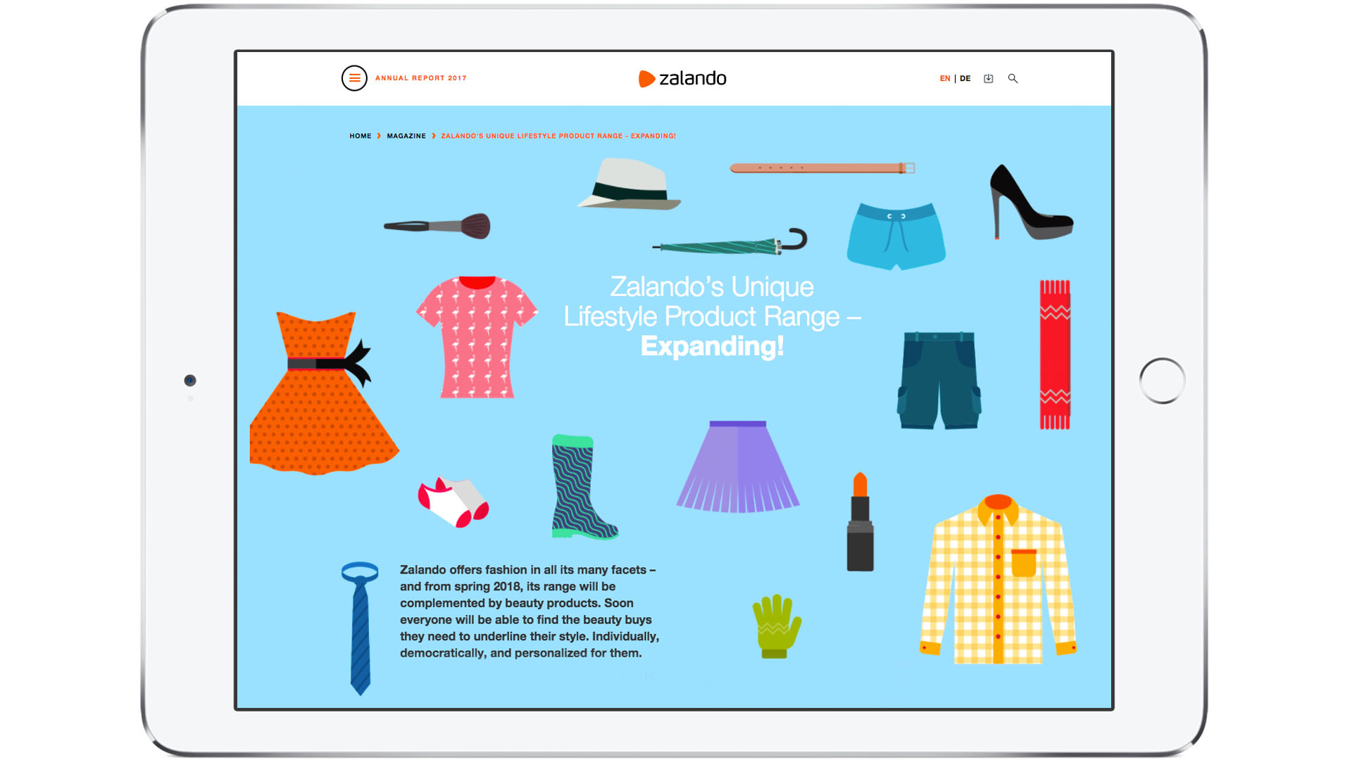 Zalando SE Newsroom Stories AR Teaser Assortment